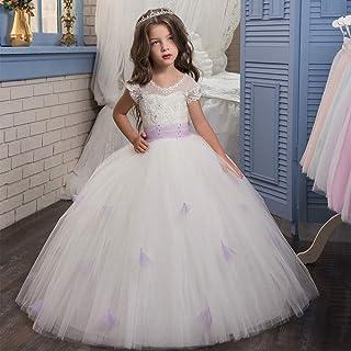 子供の女の子のドレス 女の子のレースの花嫁介添人ドレスロングラインの結婚式のページェントドレスチュールパーティードレス年齢3-16Y紫 女の子のパーティーウェディングブライドメイドの王女のドレス (サイズ : 8-9T)