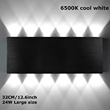 Bjour Modern Wall Light 12 LED Up and Down Light 24W Aluminum Alloy Indoor Wall Lamp Home Theater Decoration Lights for Bedroom Corridor Cool White, Black
