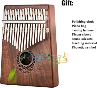 Portable Kalimba 17 Keys Thumb Piano, Wood Finger Piano with Tune Hammer and Study Instruction, for Kids Adult Beginners