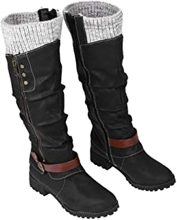 Dasongff Bottes hautes pour femme à talons longs - Bottes d'hiver sexy plates - Décontractées - Cowboy - Antidérapantes - ...