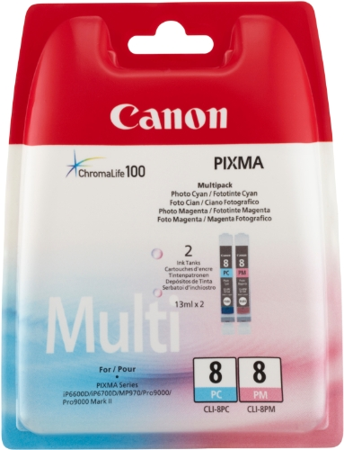 Canon CLI-8 PC/PM Tintenpatronen Mutlipack 13ml, foto-cyan/foto-magenta