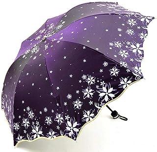 Nobrand Beautiful Flowers Umbrella Fashion Glitter Color Changing Women Umbrellas Blossom Girl Sun Parasol Gift