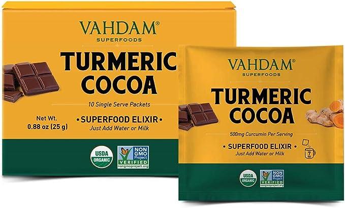 428 opinioni per Miscela di elisir VAHDAM, curcuma + cacao Superfood- 10 porzioni | Polvere di