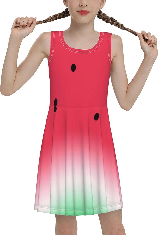 AMRANDOM Girls Dresses Summer Casual Sleeveless Dress Swing Sundress for Outdoor Sports