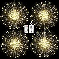 FOOING 4 Pack Firework Lights Led Copper Wire Starburst String Lights 8 Modes Battery Operated Fairy Lights with Remote,Wedding Christmas Decorative Hanging Lights for Party Patio Garden Decoration