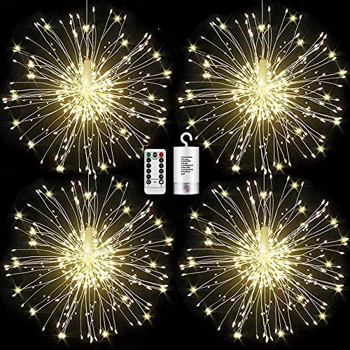 FOOING 4 Pack Firework Lights Led Copper Wire Starburst String Lights 8 Modes...