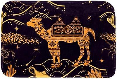 EGGDIOQ Doormats Pattern with Camel Desert, and Lamp Custom Print Bathroom Mat Waterproof Fabric Kitchen Entrance Rug, 23.6 x 15.7in