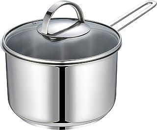 Eono by Amazon Cacerola pequeña para inducción de acero inoxidable con tapa de vidrio templado apta para todo tipo de cocinas, horno y lavavajillas, perfecta para calentar leche, 16 cm 1,5 L, NG-1610
