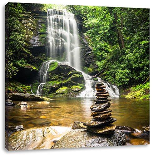 Zen Steine vor Wasserfall, Format: 70x70 auf Leinwand, XXL riesige Bilder fertig gerahmt mit Keilrahmen, Kunstdruck auf Wandbild mit Rahmen, günstiger als Gemälde oder Ölbild, kein Poster oder Plakat