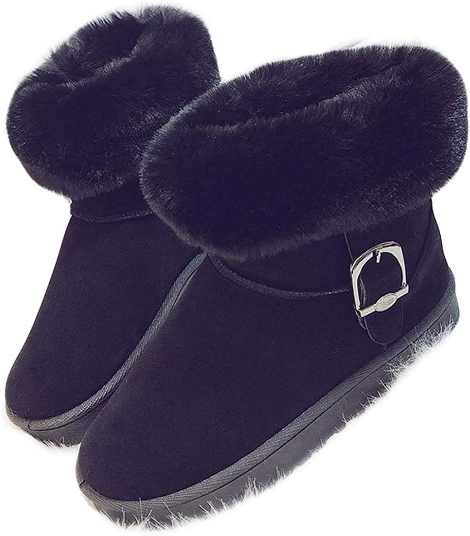 York Zhu Womens Boot,Slip-on Warm Snow Boots Women Ankle Botas Winter