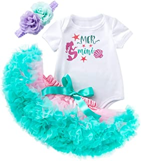 Mermaid 1st Birthday Outfit Tutu Headband Baby Girl Under The Sea Party Costume