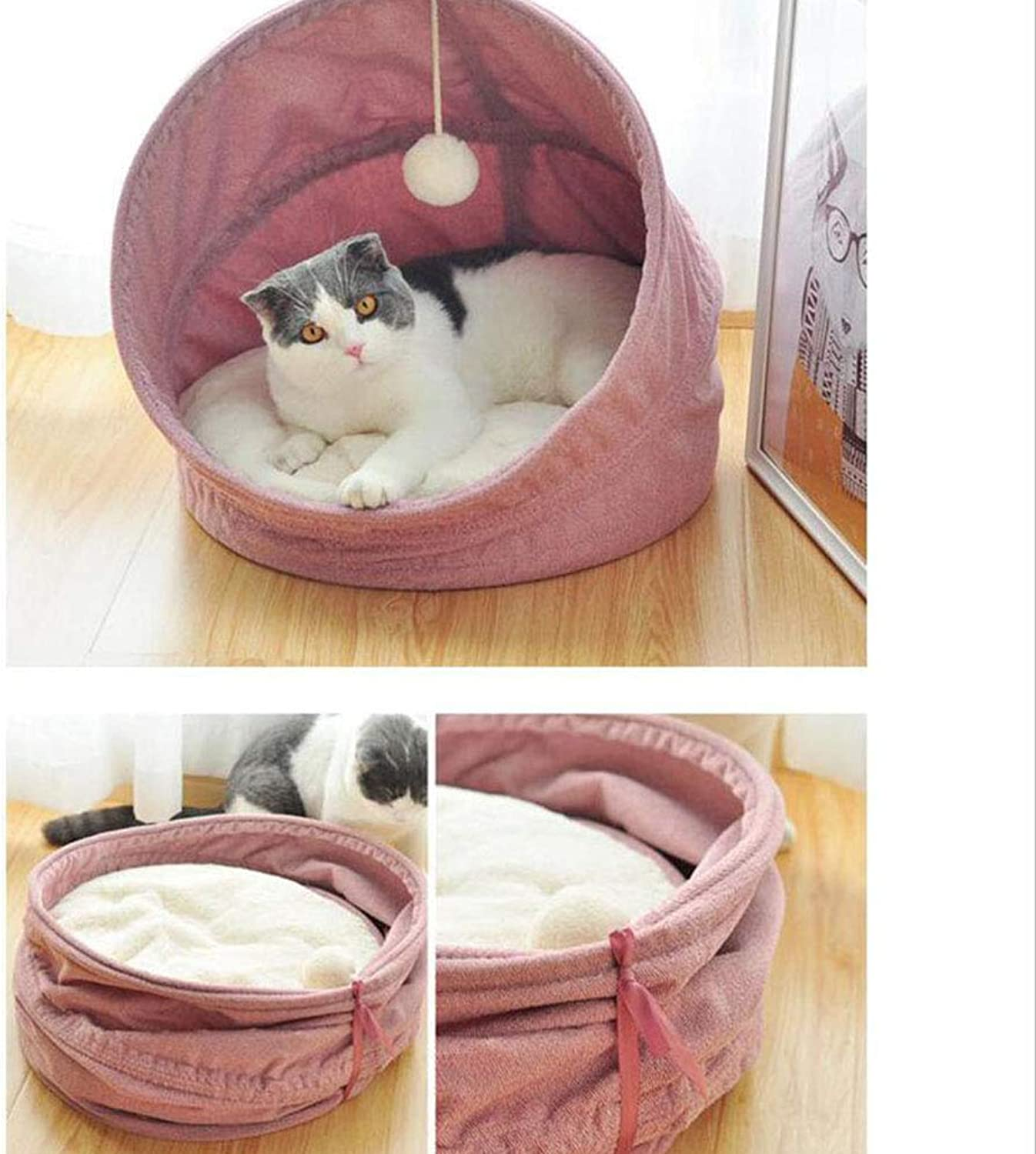 Cat Bed Dog Nest Cat Sleeping Bag Cat House Cat Nest House Closed Four Seasons Universal (color   Pink)