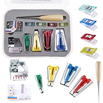 Fabric Bias Tape Maker Tool Sewing Machine Accessories for DIY Patchwork Arts and Crafts Bias Binding Maker Set with 4 Sizes Latocos Bias Tape Maker for Sewing and Quilting 6mm//12mm//18mm//25mm