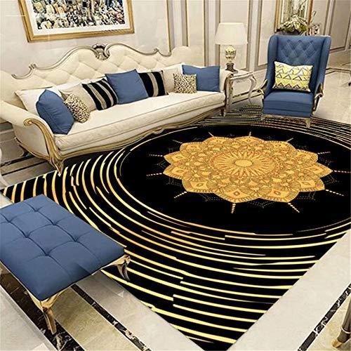"""Xiaosua """"Does Not Hurt The Floor"""" Teppich, schlicht, Retro-Stil, goldfarben, modisch, florales Muster, für Wohn- und Schlafzimmer, lichtecht, verformt sich nicht, Schwarz, 180 x 200 cm"""