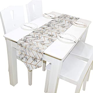 AUUXVA 13x70 inches Long Table Runner Geometric Line Golden Marble Decorative Polyester Table Runners Tablelcoth for Home Coffee Kitchen Dining Table Party Banquet Holiday Decoration