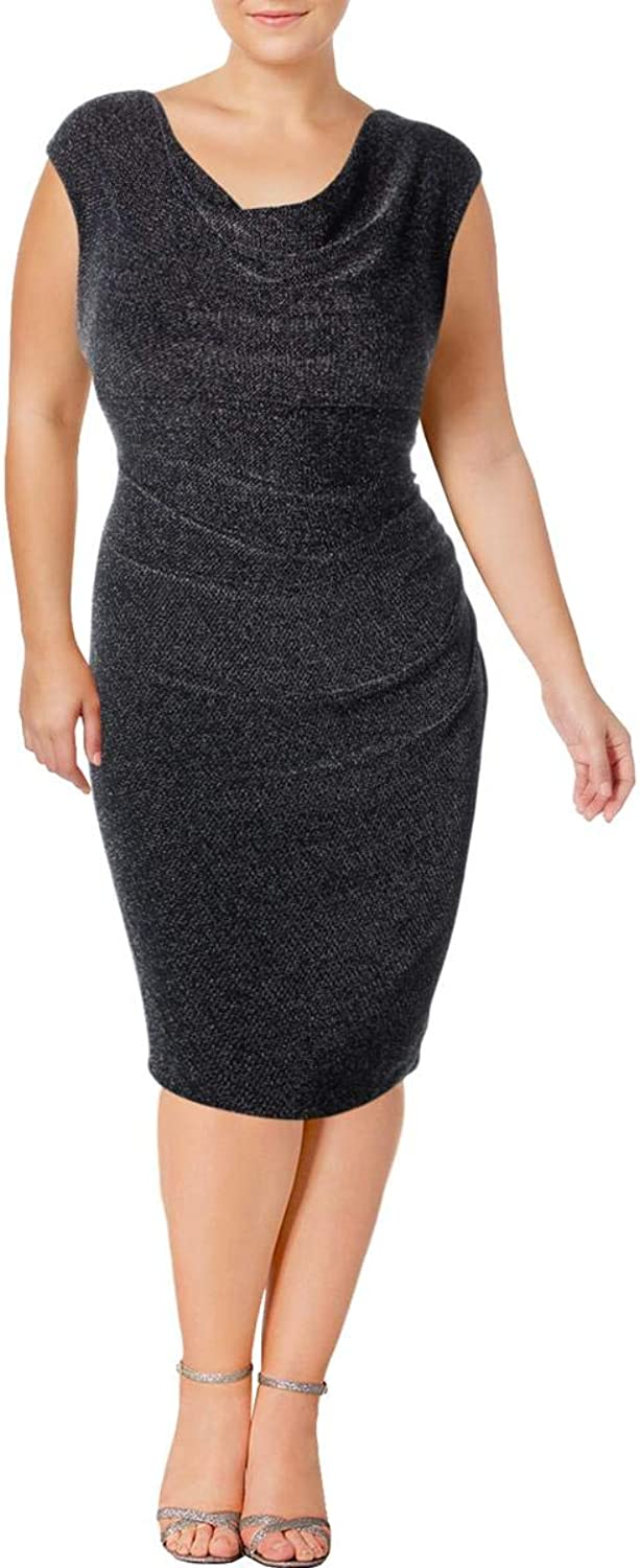 Lauren Ralph Lauren Womens Plus Cowl Neck Textured Cocktail Dress