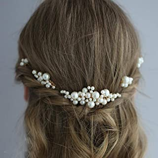 YERTTER Bohemian Vintage Pearls Jewelry Set Hair Comb Wedding Hair Accessories for Brides Simulated Pearl Bridal Hair Comb...