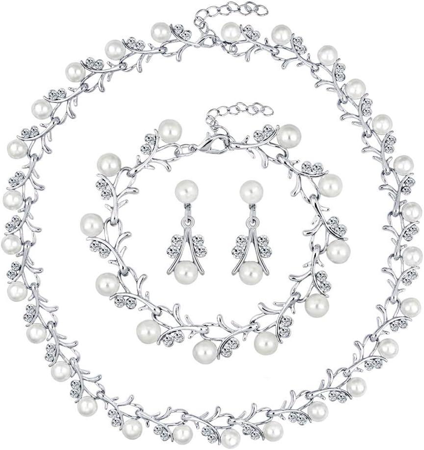 shlutesoy Valentine discount Necklace Bride Faux Rhinestone Necklac Pearl In stock