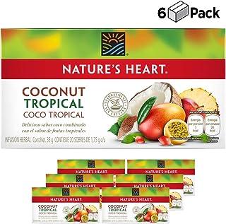 Caja de 6 Té Coco Tropical/Coconut Tropical Tea sin Cafeìna- Nature's Heart - (6X20 Sobres)