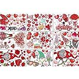 Fovor Decoraciones de San Valentín, 9 piezas/set de decoración de ventana de día festivo para decoración de ventanas de Navidad, decoración de corazón, decoración de fiesta, suministros