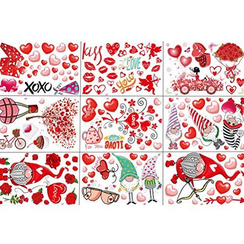CLFYOU 9 unidades/set de decoración de ventanas Holiday en forma de corazón para decoración de fiestas, San Valentín, ornamentos (20 × 30 cm)