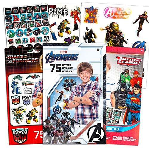Superhero Tattoos for Boys Kids Party Bundle -- 175 Licensed Temporary Tattoos with Stickers Featuring Transformers, Justice League, and Marvel Avengers (Party Supplies)