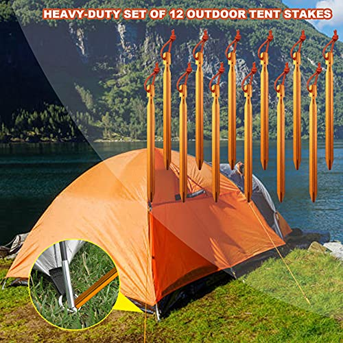 12 Pack Tent Stakes, 7075 Ground Metal Camping Aluminum Tent Pegs, Lightweight Stakes Heavy Duty Spikes
