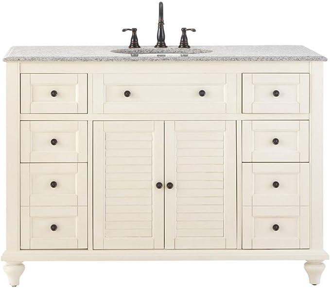 Home Decorators Collection Hamilton 49 W Shutter Bath Vanity 35 Hx49 5 Wx22 Ivory Bathroom Vanities Amazon Com