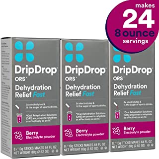 DripDrop Ors - Patented Electrolyte Powder for Dehydration Relief fast - For Heat Exhaustion, Hangover, Illness, Sweating & Travel Recovery, Berry, Individual 21g Sticks, 24Count