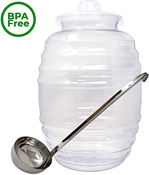 Made In Mexico Vitrolero Aguas Frescas Tapadera Water Jug Juice Beverage Container With Lid 8 Oz Ladle Combo 3 Gallon 11L Clear Party Fiesta Catering BPA Free Food Grade Plastic 14X10X10