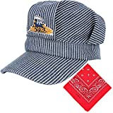 Engineer Cap Classic Blue and White Stripes Train Conductor Hat Paisley Bandanna (2 IN 1)Train Conductor Dress Up Kit for Children
