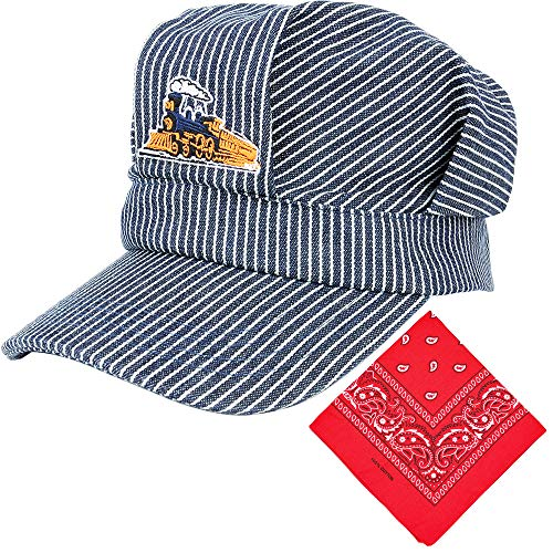 CINKCO Train Engineer Conductor Adjustable Cap Classic Blue and Red Paisley Bandanna for Kids
