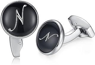 HONEY BEAR Initial Alphabet Letter Cufflinks for Men, Black Round Shape Stainless Steel Wedding Business Cufflinks A to Z