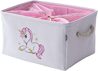 INough Unicorn Storage Bins for Kid, Collapsible Storage Basket Toys Clothes Crafts Organizer,Fabric Laundry Baskets Storage Bin with Handle for Organizing Home/Nursery/Kitchen/Closet,Small(Unicorn)