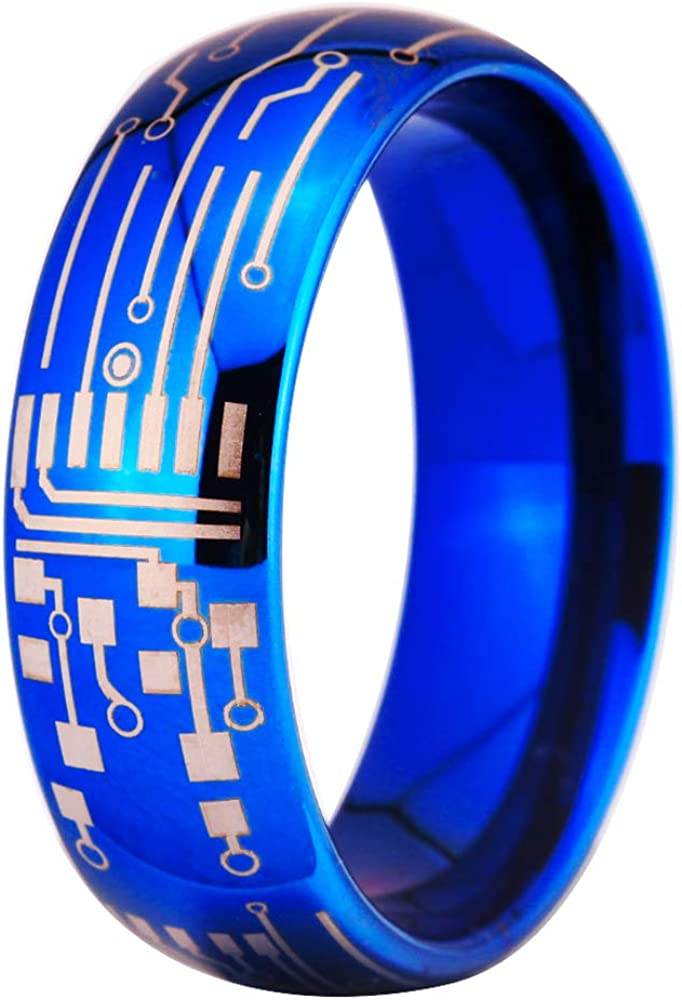 Computer Circuit Pattern Ring - 8mm Width Blue Dome Tungsten Carbide Ring Wedding Ring and Engagement ring-Free Engraving Inside