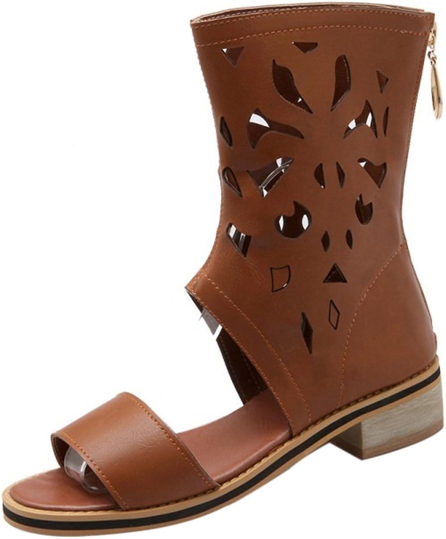 FANIMILA Women Classic High Top Low Heel Zipper Sandals Summer Bootie