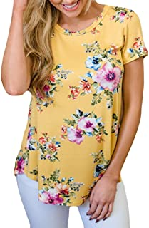 TOPUNDER 2018 Short Sleeve O-Neck Yellow Floral Print Tops Blouse Shirt Tee for Women