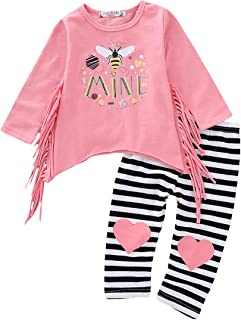 YOUNGER TREE 1-6T Little Baby Girl Christmas Outfits Cotton Long Sleeve T Shirt Striped Leggings 2PC Set