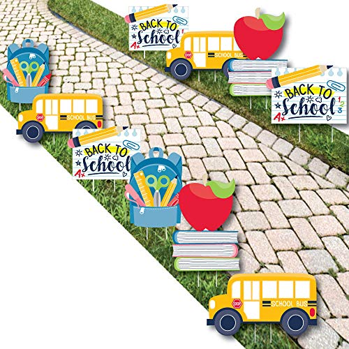 Big Dot of Happiness Back to School - Backpack, School Bus, Apple on Books Lawn Decorations - Outdoor First Day of School Classroom Yard Decorations - 10 Piece