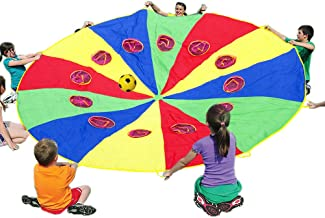 Sonyabecca Parachute 12 Foot for Kids with 12 Handles and Holes,Play Parachute Tent Outdoor Games Activities Toys