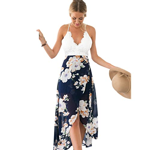 77da82060c88 Blooming Jelly Women's Halter Neck Deep V Asymmetrical Floral Dress