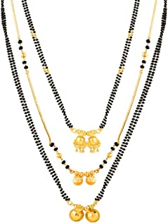 MEENAZ Combo Traditional Wedding Temple One Gram Gold Meenakari Copper Brass Wati Mangal sutra Pendant Tanmaniya Black Bea...