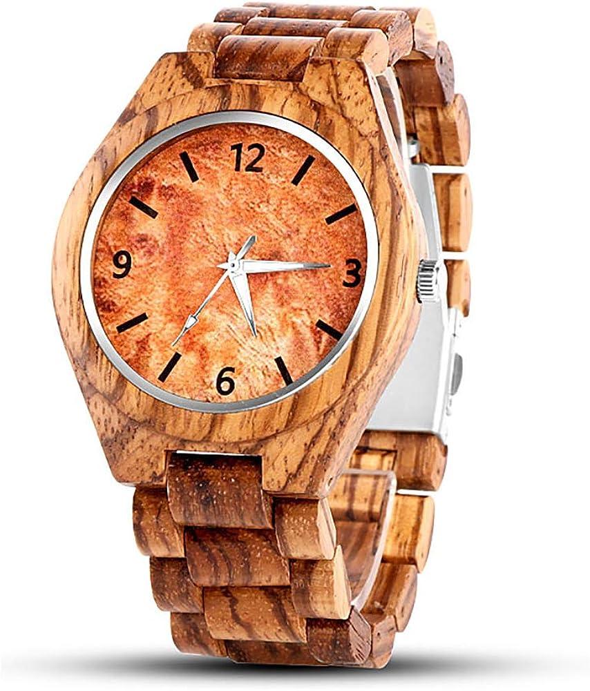 Reloj de Madera Relojes de BrúJula Reloj Deportivo Deportivo de Madera MultifuncióN para Hombre Relojes de Pulsera con Correa de Vaca,Adecuado Cyber Monday
