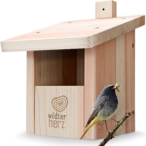 wildtier herz Nichoir Oiseaux Exterieur pour Rouge Gorge & Co. en Bois Massif – Vissé & Résistant aux Intempéries, De...