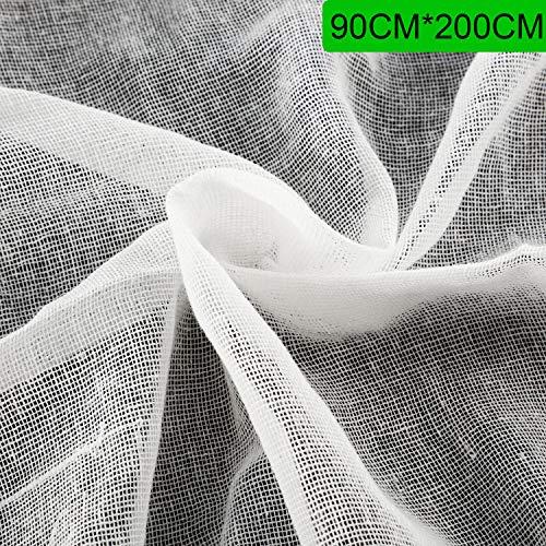 Käsetuch, Ungebleichter Baumwollstoff Ultrafeine Musselin Tücher für Butter, Kochen, Backen, Selbstgemachtes Tuch zum Sieben, Weiß (90 x 200 cm)