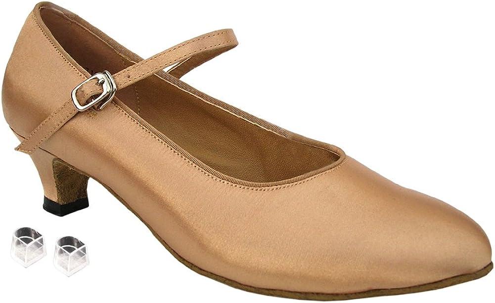 Very Fine Ladies Women Ballroom Dance Shoes EK3008 Light Brown Satin 1.3