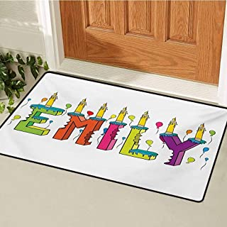 GUUVOR Emily Welcome Door mat Cartoon Doodle Birthday Cake with Cheerful Event Pattern Balloon Filled Background Door mat is odorless and Durable W35.4 x L47.2 Inch Multicolor