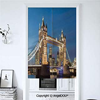 AngelDOU London Door Curtains Home Decor Modern Valances Scenery of Landmark Tower Bridge at Twilight with Skyscrapers England UK Image Room Divider for Bedroom Kitchen 33.5x47.2 inches