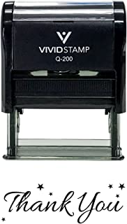 Thank You w/Stars Self Inking Rubber Stamp (Black Ink) - Medium