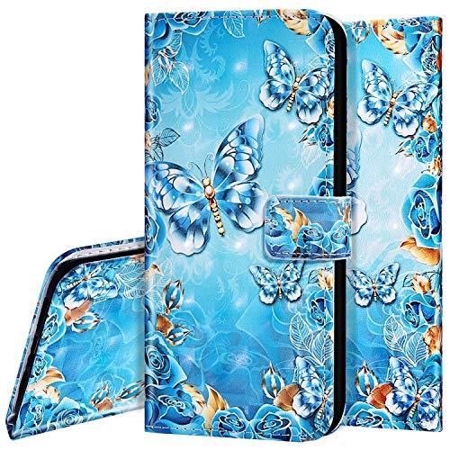 Surakey - Funda protectora para Samsung Galaxy A71, diseño creativo de piel sintética, cierre magnético con tarjetero, función atril, diseño de mariposas azules